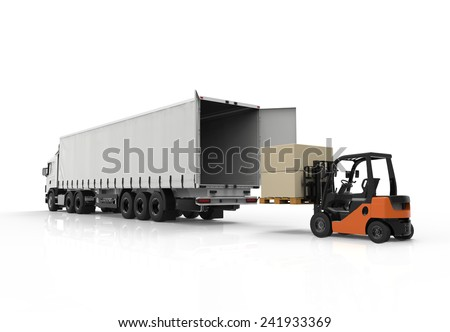 3d render of forklift loading a truck