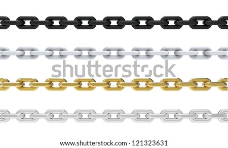 3d render of four chains on white background