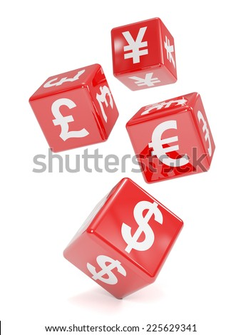 3d render of four red dice marked with international currency symbols - stock photo