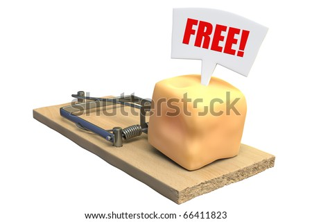 "3D render of ""free"" cheese in a mousetrap"
