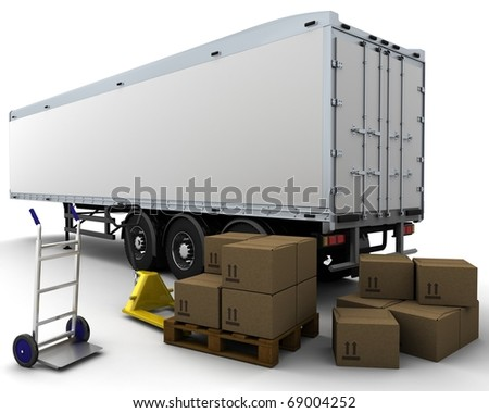 3D render of freight trailer and shipping boxes - stock photo