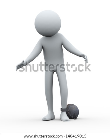 3d render of frustrated and sad  prisoner tied with iron ball. 3d rendering of people human character. - stock photo