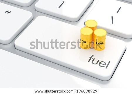 3d render of fuel barrel icon on the keyboard. Gasoline energyl concept  - stock photo