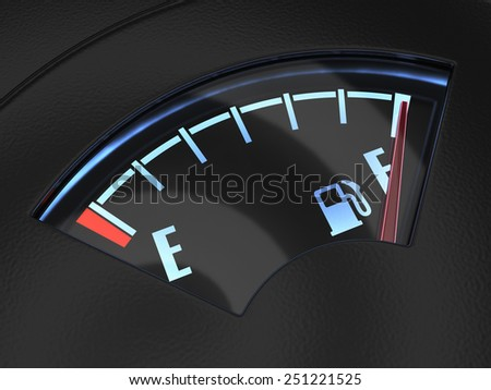 3d render of gas gage with the needle indicating a full tank. Fuel concept - stock photo