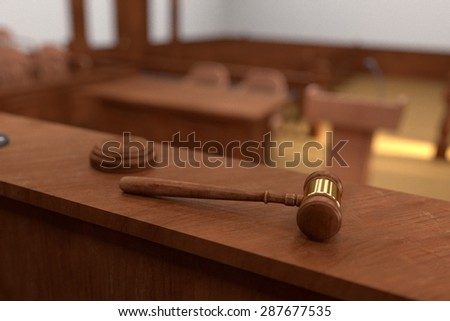 3d render of gavel - stock photo