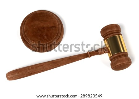 3d render of gavel (judge mallet) - stock photo