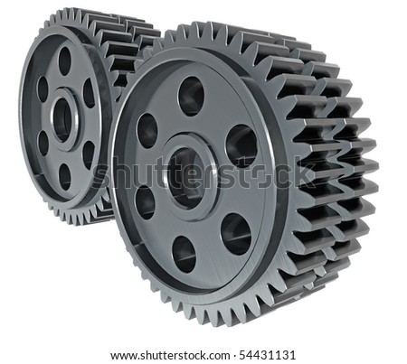 3D render of gears linked together.