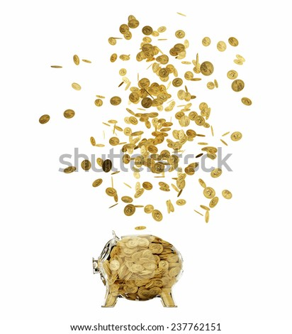 3d render of glass piggybank isolated on white background  - stock photo