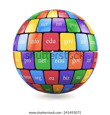 3d render of global internet communication creative abstract internet PC technology and web telecommunication business computer concept. View of group color cubes in the sphere spape domain names  - stock photo