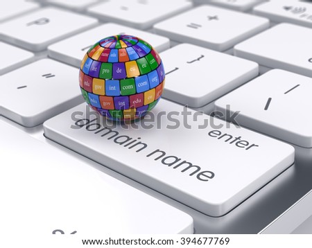 3d render of global internet communication creative internet PC technology and web telecommunication business computer concept. Sphere shape domain names on the computer keyboard - stock photo