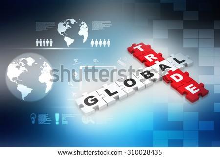3d render of 'global trade' crossword - stock photo