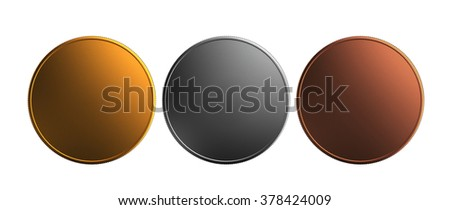 3d render of gold and silver, bronze prize coins isolated on white background - stock photo