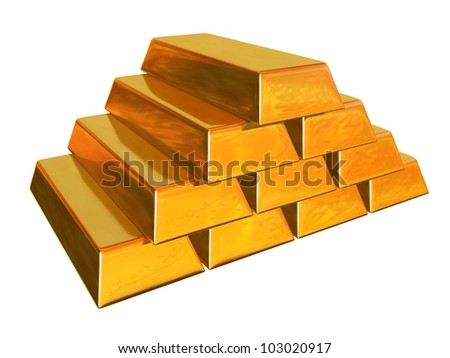 3d render of gold bars