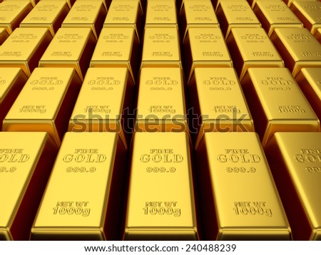 3d render of gold bars background  - stock photo