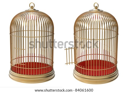 3d render of  gold cage on a white background - stock photo