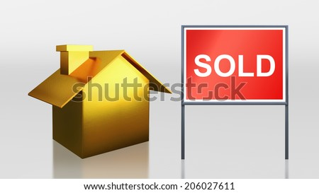 3d render of gold house for sold - stock photo