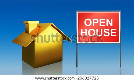3d render of gold house sky open house - stock photo