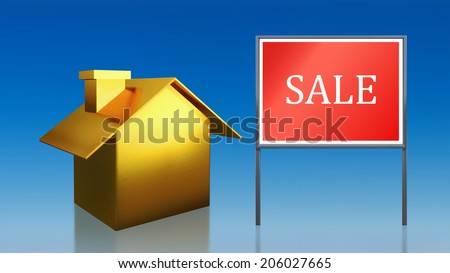 3d render of gold house sky sale - stock photo