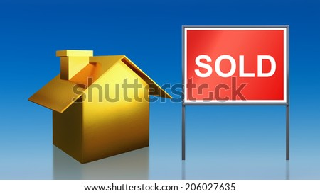 3d render of gold house sold sky - stock photo