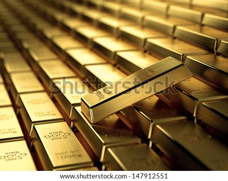 3d render of gold ingots in a row, wealth concept. - stock photo