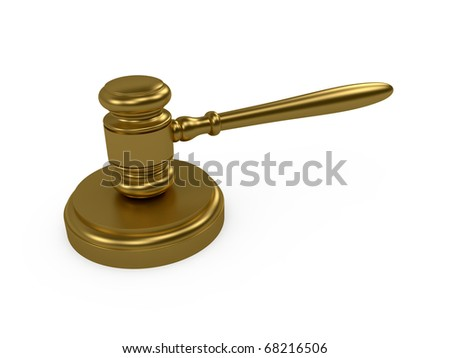 3d render of gold judge gavel on white background - stock photo