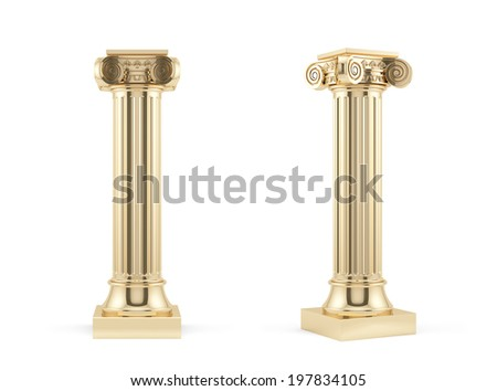 3d render of golden columns isolated on white background  - stock photo