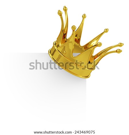 3d render of golden crown on the blank board. Isolated on white background  - stock photo