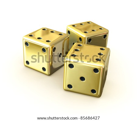 3d render of golden dices over white background