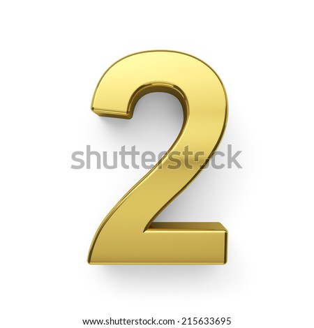 3d render of golden digit two symbol - 2. Isolated on white background - stock photo
