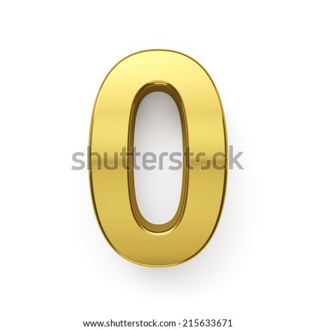 3d render of golden digit zero symbol - 0. Isolated on white background - stock photo