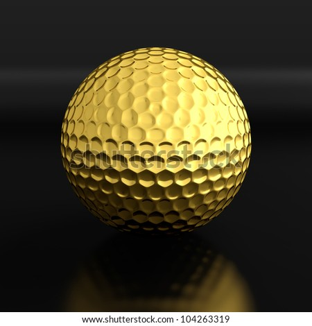 3d render of golden golf ball on black background - stock photo