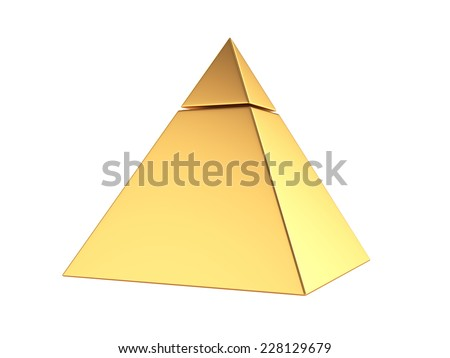 3d render of golden pyramid isolated on white background  - stock photo