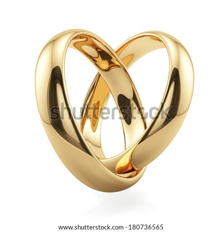 3d render of golden rings heart shape isolated on white background. Love concept - stock photo
