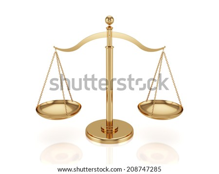 3d render of golden scales isolated on white background - stock photo
