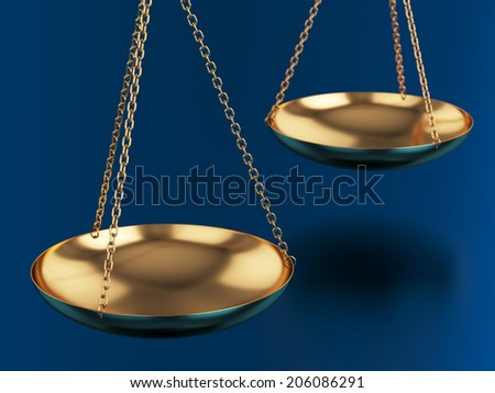 3d render of golden scales on blue background - stock photo