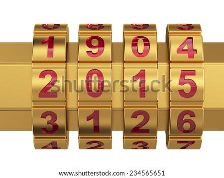 3d render of golden 2015 Year combination lock  - stock photo
