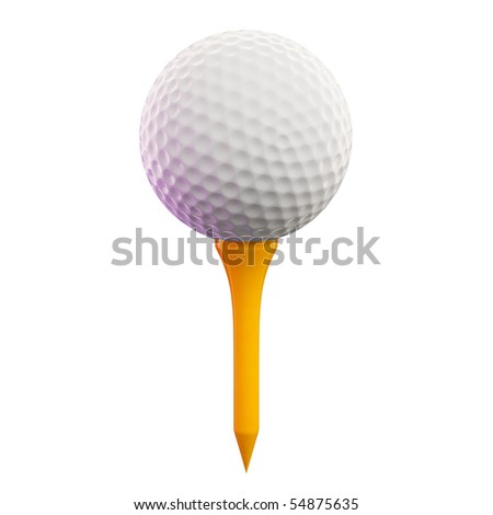 3d render of golf ball on tee - stock photo
