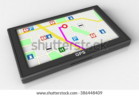 3d render of GPS navigation device on white background - stock photo