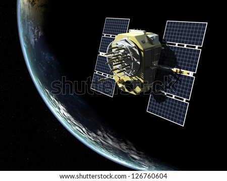 3d render of GPS satelite in orbit around the Earth