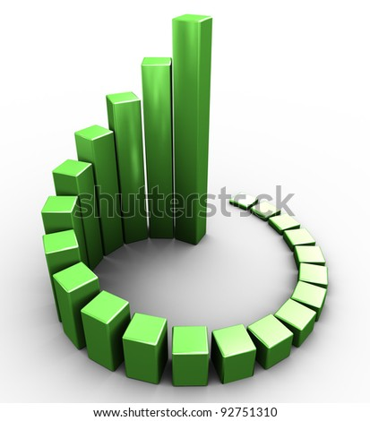 3d render of green circular progress bars - stock photo
