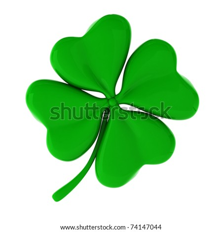 3d render of green clover - stock photo