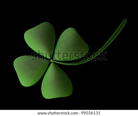 3d render of green clover isolated on black background High resolution - stock photo