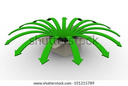 3d render of green flower arrows jumping outside from box. - stock photo