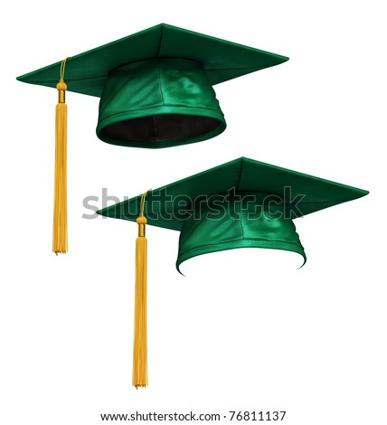 3D render of green graduation cap with gold tassel isolated on white background - stock photo