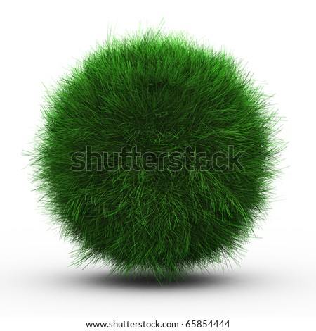 3d render of green grass ball on white background. - stock photo