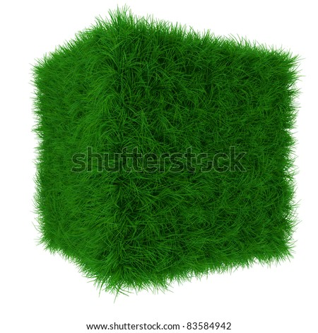 3d render of green grass cube isolated on white background