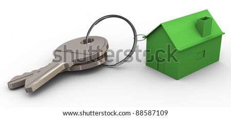 3d render of green house connected with keys