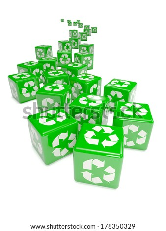 3d render of green recycling dice