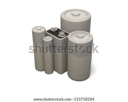 3d render of group of common battery sizes