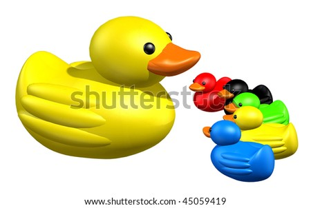 3d render of group of duck form a arrow